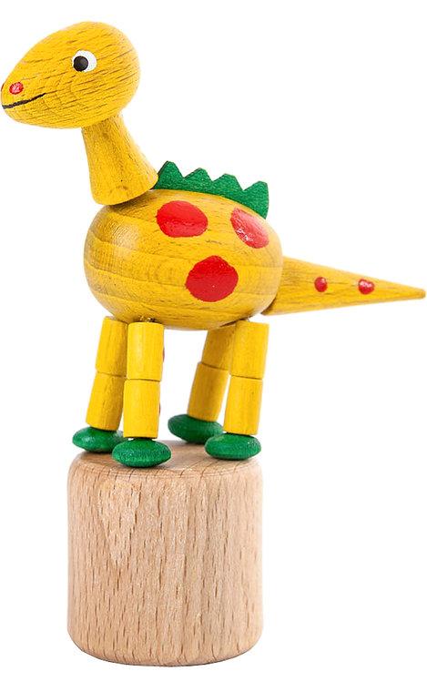 "Toy - Dinosaur push toy - Yellow 3.5""H"
