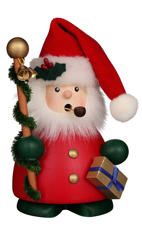 """Smoker - Santa Claus (with stick and presents) - Painted 5.5""""H"""