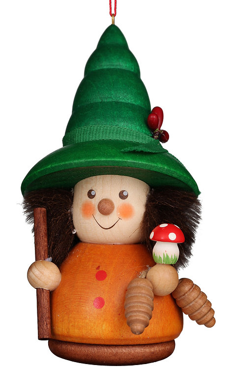 """Ornament - Woodsman (with a mushroom)  - Painted 4""""H"""