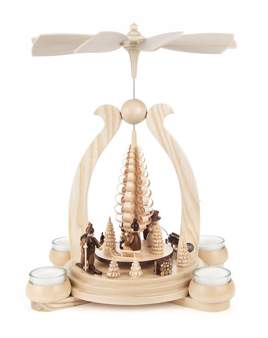 """Pyramid Wintersports (holds tea lights) Natural 13.4""""H"""