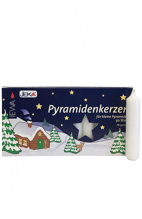 """Candles for Pyramids - """"Pyramidkerzen"""" White (box of 50) 3""""H"""