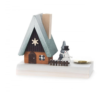 "Smoker - House with Snowman (Blue dust) 3.5""H"