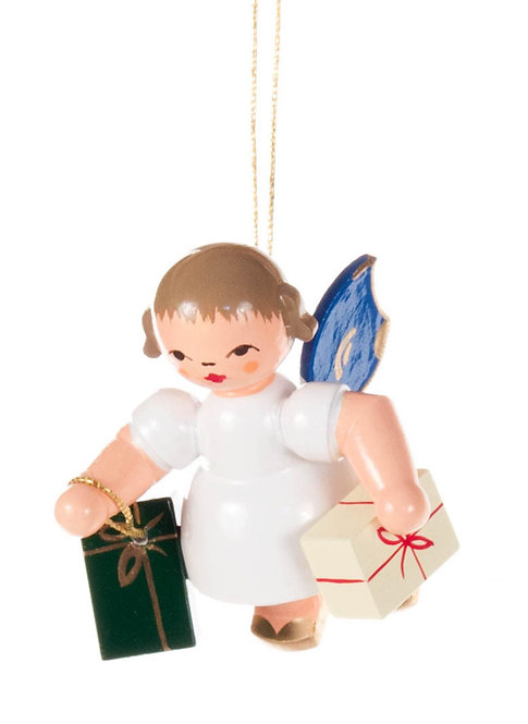 """Ornament - Angel with gifts, blue wings - 2.0""""H"""