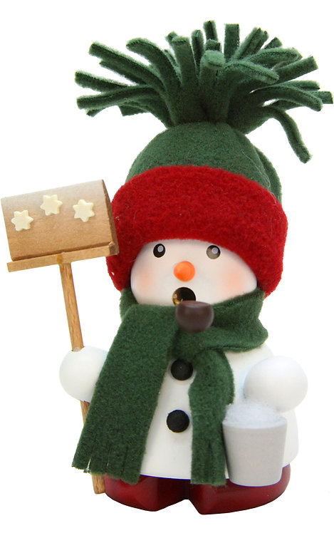 """Smoker - Snowman (with green hat/scarf) 4.5""""H"""