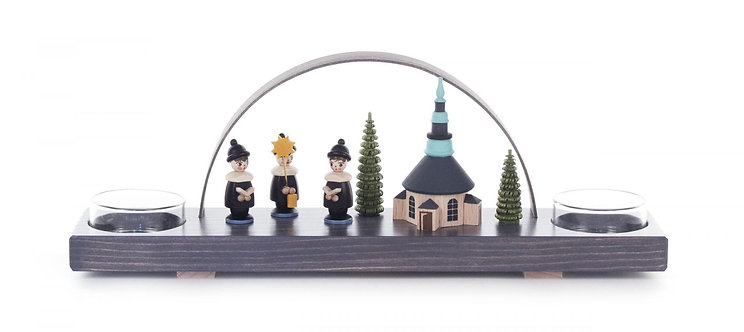 """Candle Arch Seiffen Church and Children's Choir - Gray (holds tea lights) 3.9""""H"""