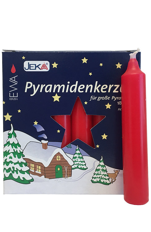 "Candles for Pyramids - ""Pyramidkerzen"" Red (box of 18) 4.3""H"