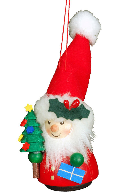 """Ornament - Santa (with tree) - Painted 5""""H"""