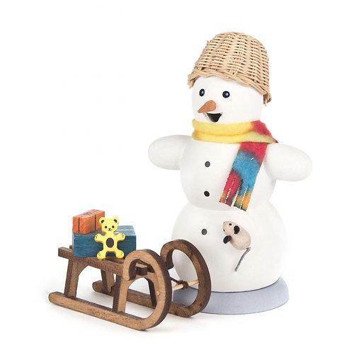 "Smoker - Snowman with Sleigh - Painted 5.2""H"