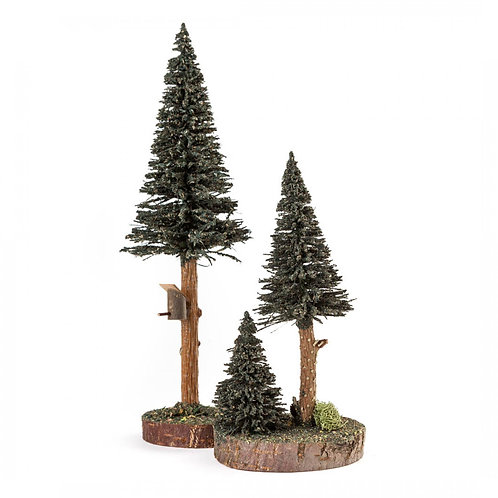 "Decoration Trees with Birdhouse - Green  7.9""H - 10.7""H (set of 2)"