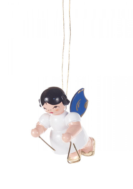 """Ornament - Angel with Triangle, blue wings - 2.0""""H"""