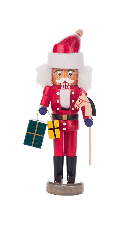 "Decoration - Mini-Nutcracker Santa Claus (with gifts) - Painted 5.8""H"