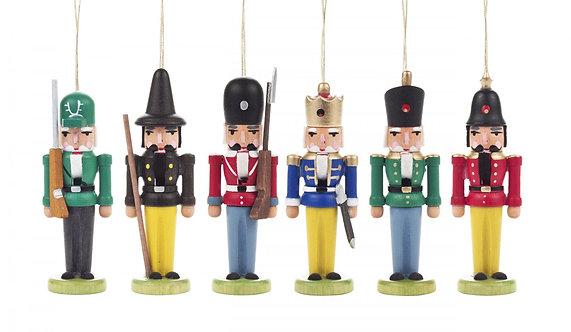 "Ornament - Miniature Nutcrackers (set of 6) 3.1""H"