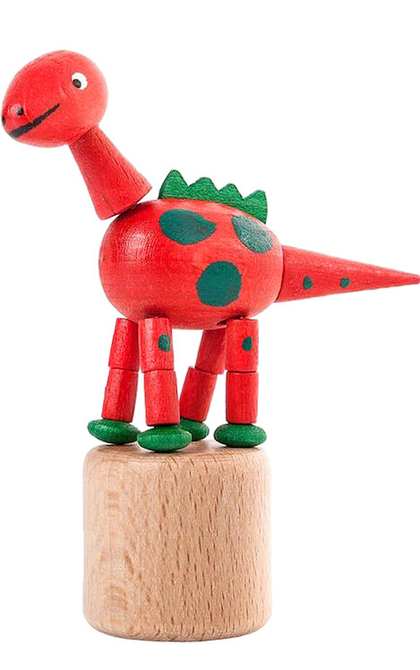 "Toy - Dinosaur push toy - Red 3.5""H"