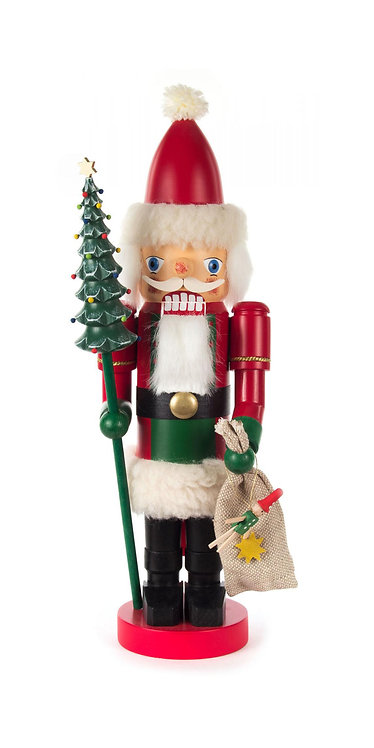"Nutcracker Santa (holding Christmas tree and sack) - Painted 13.8""H"