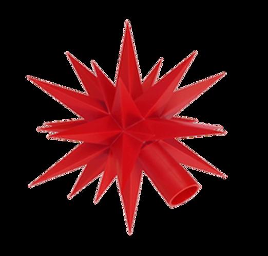 "Moravian Star - Original Herrnhut Plastic Star, (A1e) (Red) - 5""H"