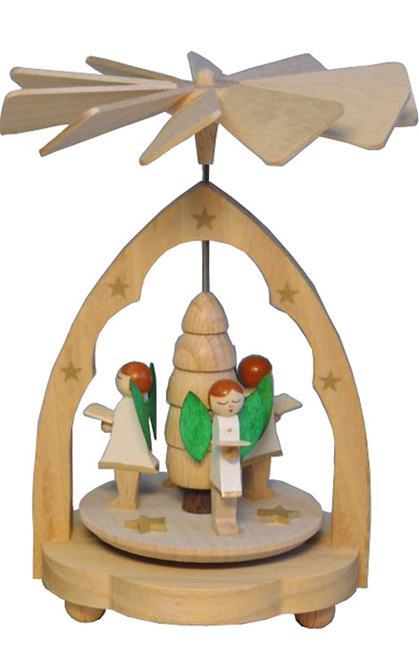 "Decoration - Mini-Pyramid Angel Choir - Partially Painted 4.5""H"
