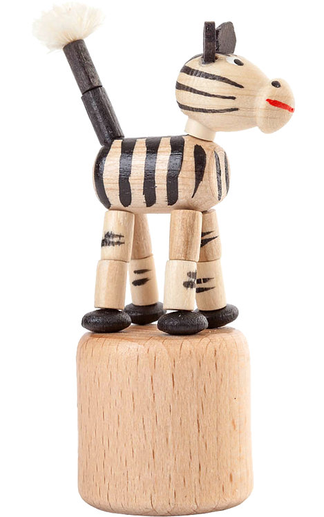 "Toy - Zebra push toy - Lightly stained 3""H"