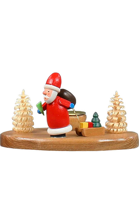 """Decoration - Santa Claus pulling a sled in a small forest 2.5""""H"""