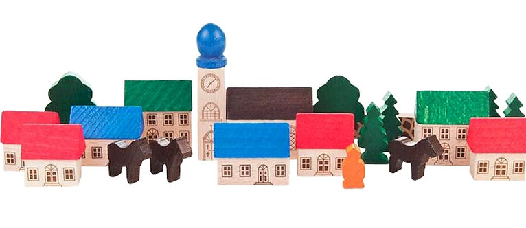 "Toys - Wooden Mountain Village - Painted 2.8""H"