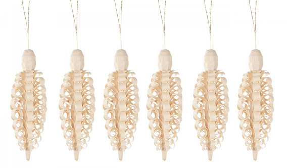"""Ornament - Handcarved Wooden Cones (sold seperately) Natural  small 3.5""""H"""
