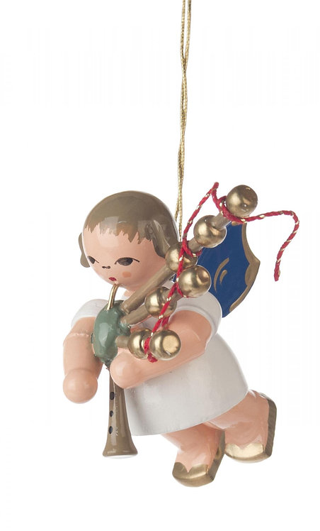 """Ornament - Angel with Bagpipes, blue wings - 2.0""""H"""