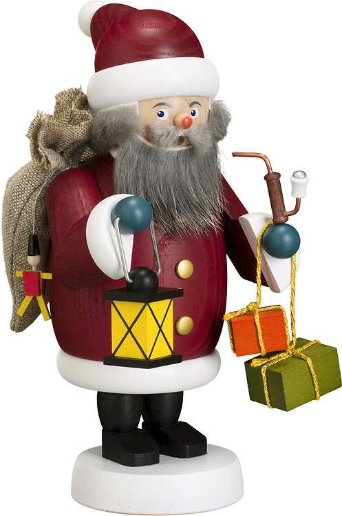 """Smoker - Santa Claus (with gifts, sack and latern) - Painted 7.5""""H"""