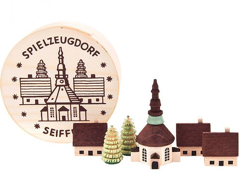 "Decoration - Miniature Seiffen Village - Lightly stained 2.17""H"