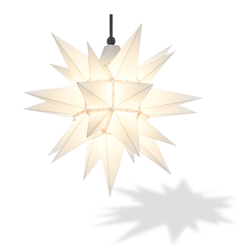 "Moravian Star - Original Herrnhut Plastic Star (A4) - (White) - 16"""