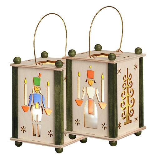 "Decoration - Lantern - Angel, Miner and Tree (LED lighting) 5.6""H / 8.3""H"