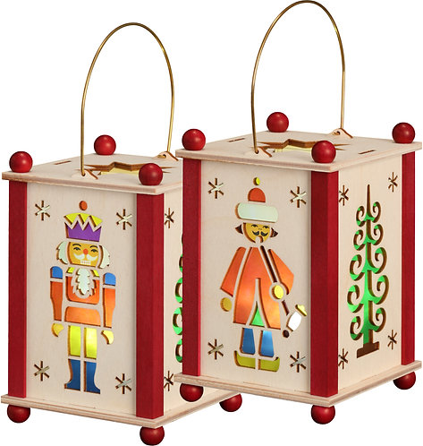 "Decoration - Lantern - Nutcracker, Incense Figure and Tree (LED lighting) 5.6""H"