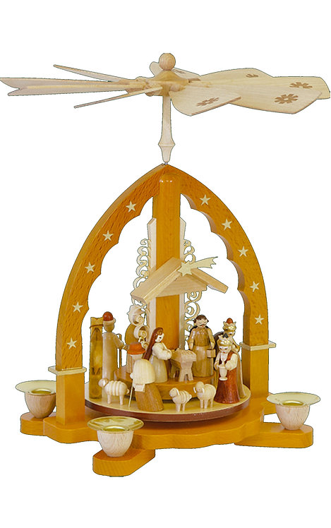 "Pyramid Nativity Scene (holds candles) - Natural 10.5""H"