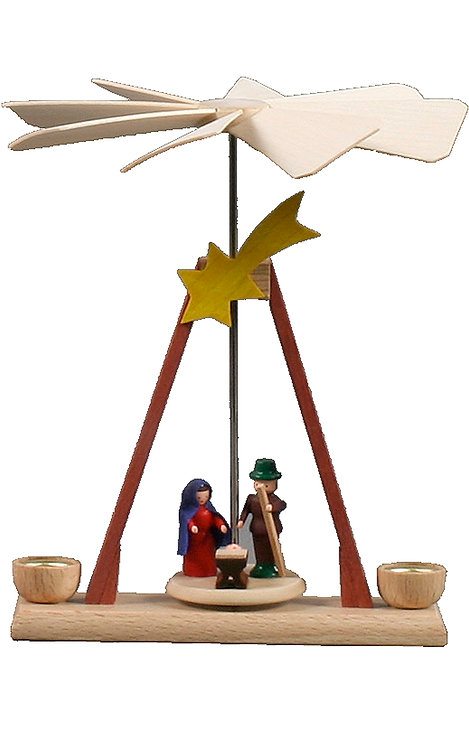 "Decoration - Mini-Pyramid Nativity Scene (holds candles) - Painted 5.3""H"