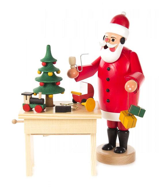 """Smoker - Santa Claus & Work Bench Music Box - Painted 8.7""""H"""