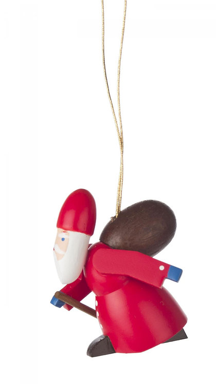 "Ornament - Santa with Walking Stick and Sack - Painted 1.8""H"
