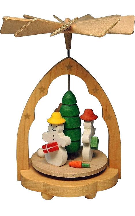 "Decoration - Mini-Pyramid Snowman - Painted 4.5""H"