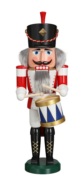 "Nutcracker Drummer - White/Red 15.4""H"
