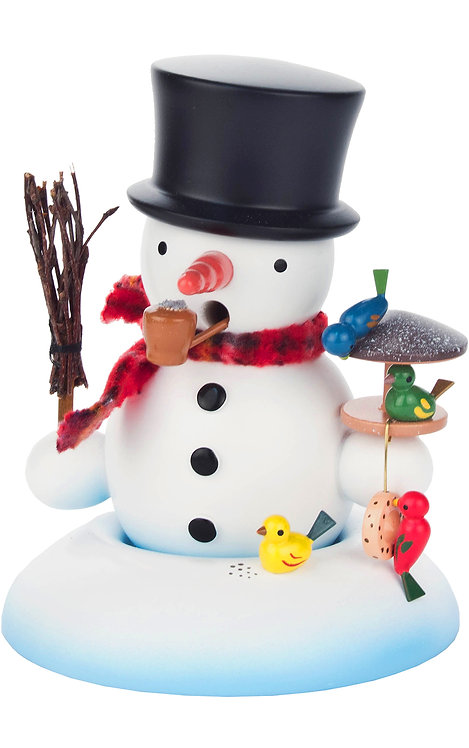 """Smoker - Snowman with Birds - Painted 5.5""""H"""