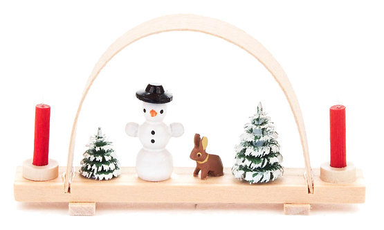 "Candle Arch - Mini-Candle Arch with Snowman and Rabbit - 1.4""H"