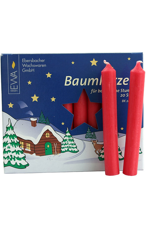 """Candles for Pyramids - """"Baumkerzen"""" Red (box of 20) 4""""H"""