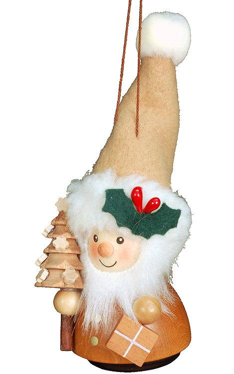 """Ornament - Santa (with tree) - Natural 5""""H"""