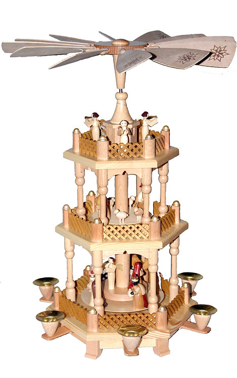 "Pyramid Nativity Scene (3 tiers) Wisemen, Shepherds and Angels - Natural 17.3""H"