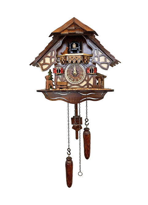 "Cuckoo Clock (Engstler) Woodland House (battery operated) Painted, 10""H"