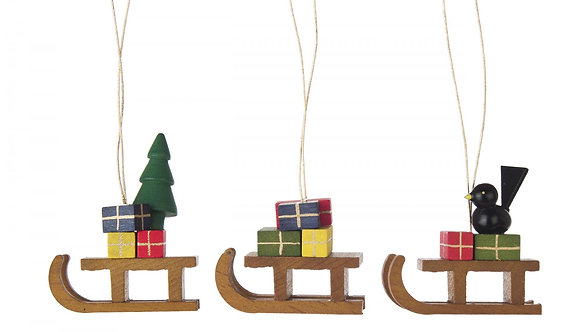 "Ornament - Sleighs - (set of 3) - painted - 2.0""H"
