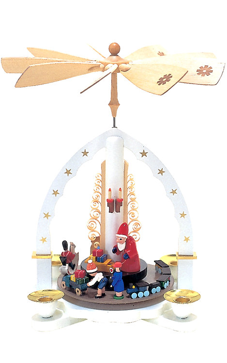 "Pyramid Santa with Toys (holds candles) - White/Painted 10.5""H"
