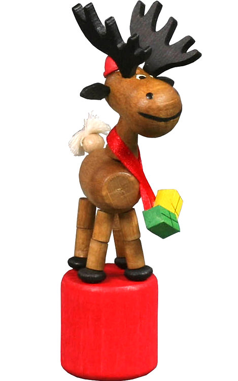 "Toy - Elk push toy (with scarf and presents) - Colorful 4""H"