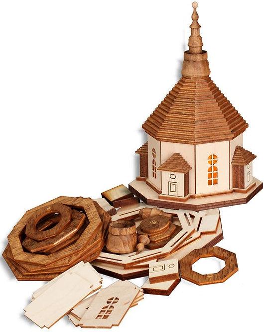 "Craft - Seiffen Church (w/light) to build - Natural 6.7""H"
