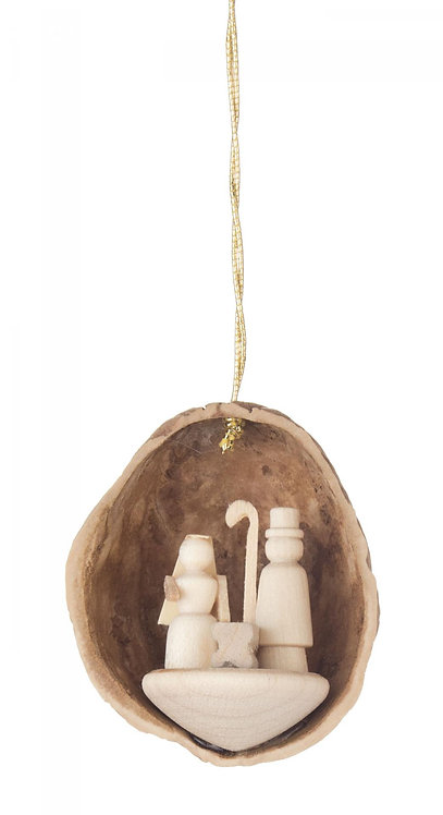 "Ornament - Walnut Shell with Miniature Nativity - Natural 1.8""H"