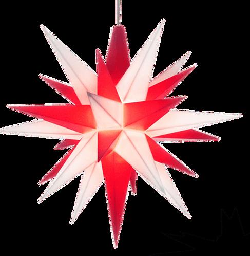"Moravian Star - Original Herrnhut Plastic Star, (A1e) (White/Red) - 5""H"