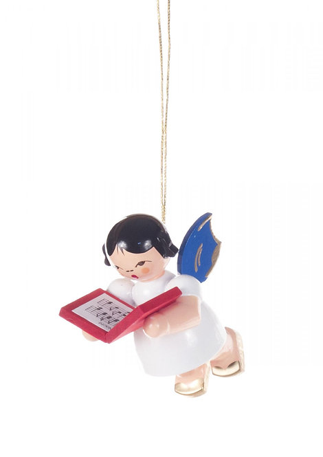 """Ornament - Angle with book, blue wings - 2.0""""H"""