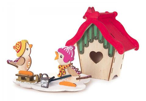 "Craft - Smoker House w/2 Birds to Build - Natual 5.1""H"